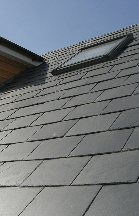 Velux window in a slate roof